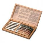 Claude Dozorme Steak Knives Mixed Wood Set of 6