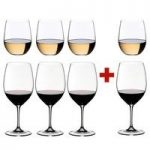 Riedel Crystal 4 Vinum Bordeaux Glass + 4 O Stemless Chardonnay Glass, Pay 4 Get 8