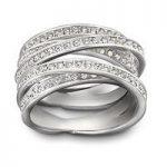 Swarovski Spiral Silver Ring, Size 58