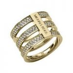 Michael Kors Triple-Stack Pave Ring, Golden Size L.5