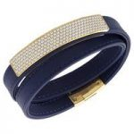 Swarovski Vio Navy Blue Leather Bracelet