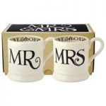 Emma Bridgewater Black Toast Mr & Mrs 2 x 1/2 Pint Mugs