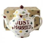 Emma Bridgewater Polka Hearts Just Married Teapot (Boxed)