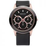 Bering Mens Classic Watch, Black Leather