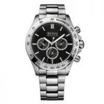 Hugo Boss Mens Chronograph Watch, Black and Silver Face, Silver
